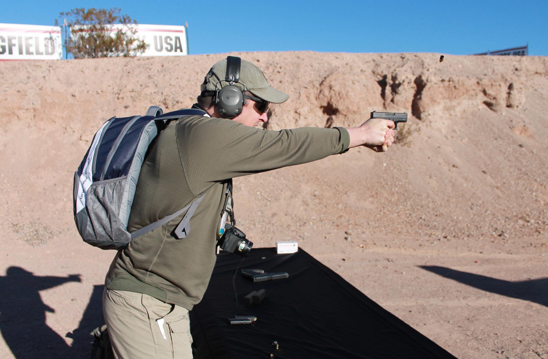 Shooting a Glock 42 at Media Day