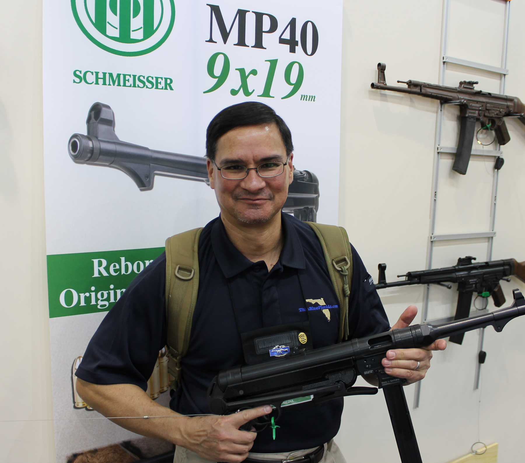 Randall with Schmeisser MP40